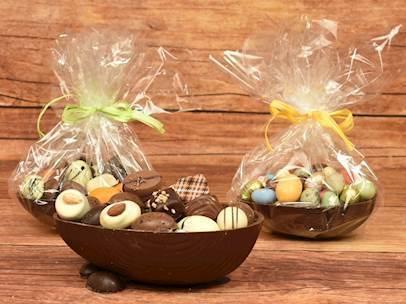 Påskeæg dessert i Chokoladeskaller
